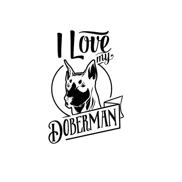 I love my doberman Png | Free download Iron on Transfer Funny Quotes T- Shirt Design in Png