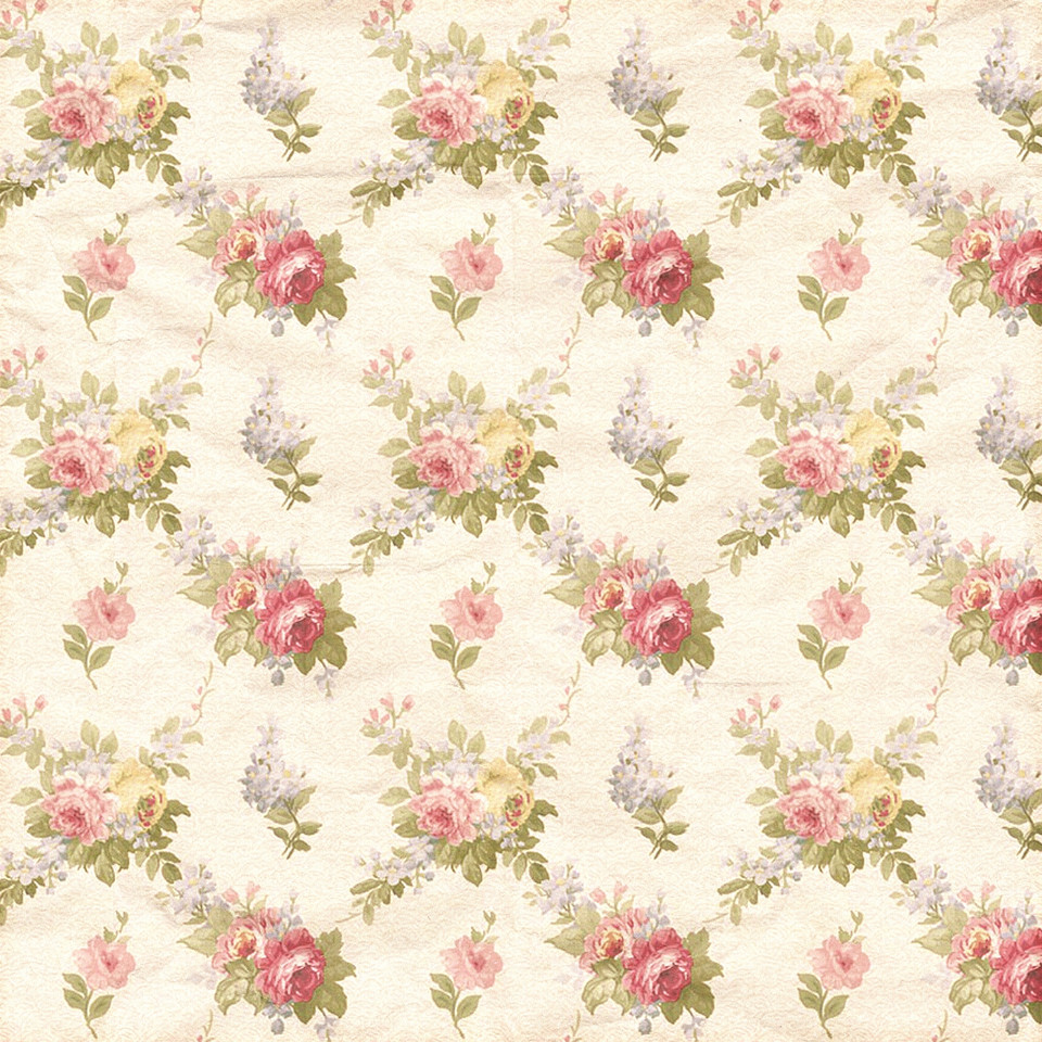 Shabby chic floral digital paper with pastel flowers | Scrapbook Paper