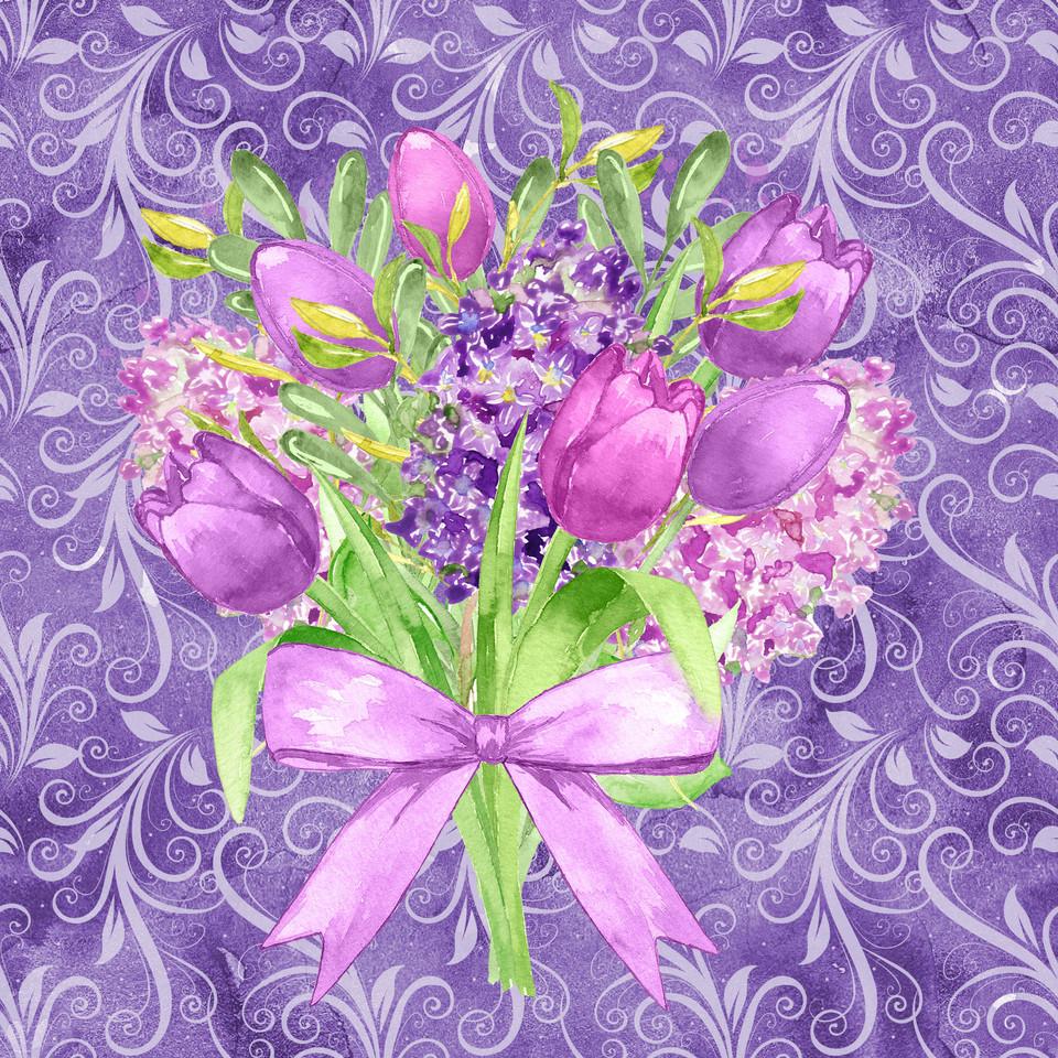 Luxurious watercolor digital paper with pink flowers | Scrapbook Digital Paper