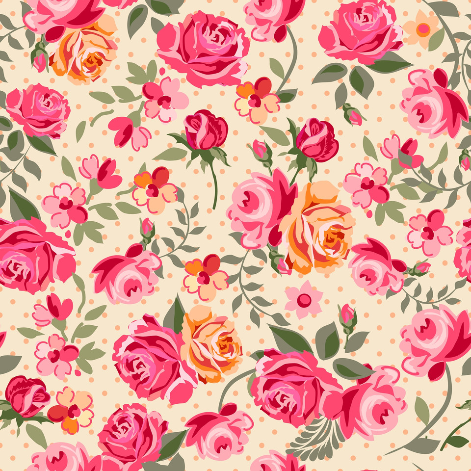 Spring roses digital paper with seamless design | Wrapping Digital Papers