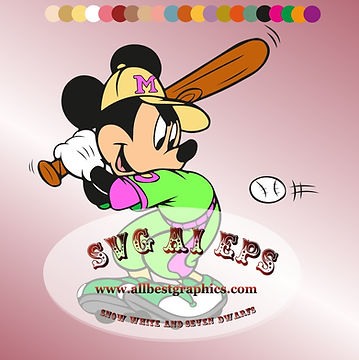Mickey Mouse Svg Baseball Sport Clipart | Disney Characters Clip Art