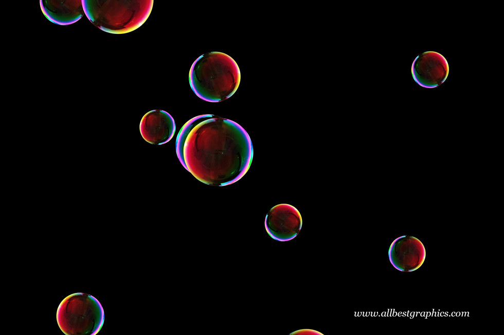Wonderful blowing soap bubbles on black background | Bubble Photo Overlay