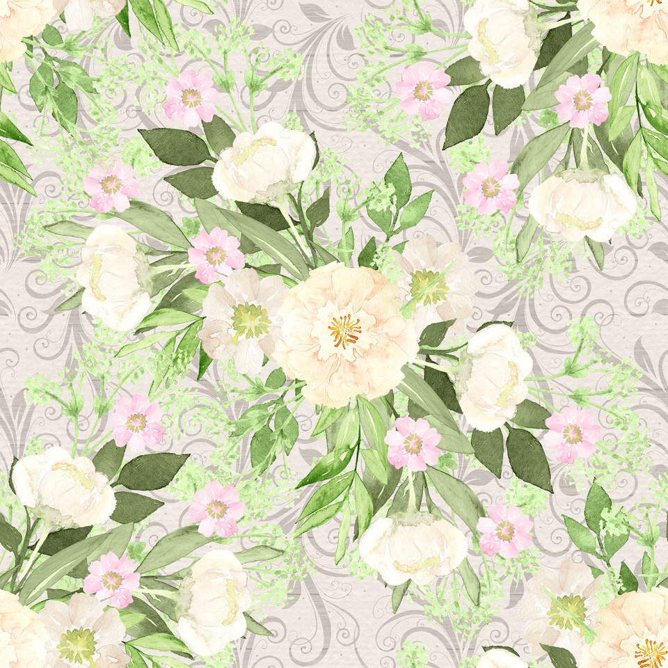 Luxurious watercolor digital paper with pink flowers | Scrapbook Paper
