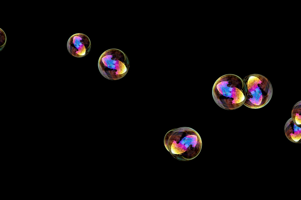 Romantic air soap bubbles on black background | Photoshop overlays