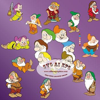25 Snow White & the Seven Dwarfs | Disney Cut files - Bundle Eps SVG DXF