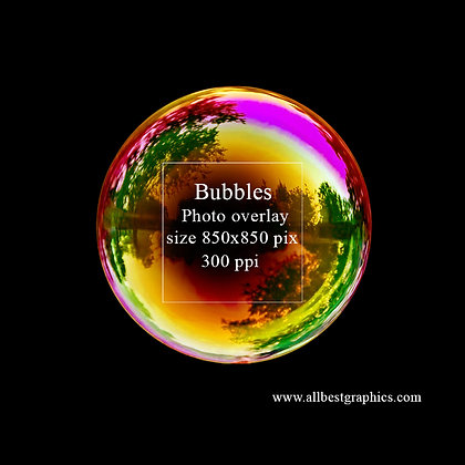 Simple Soap bubble on black background (yellow sky)