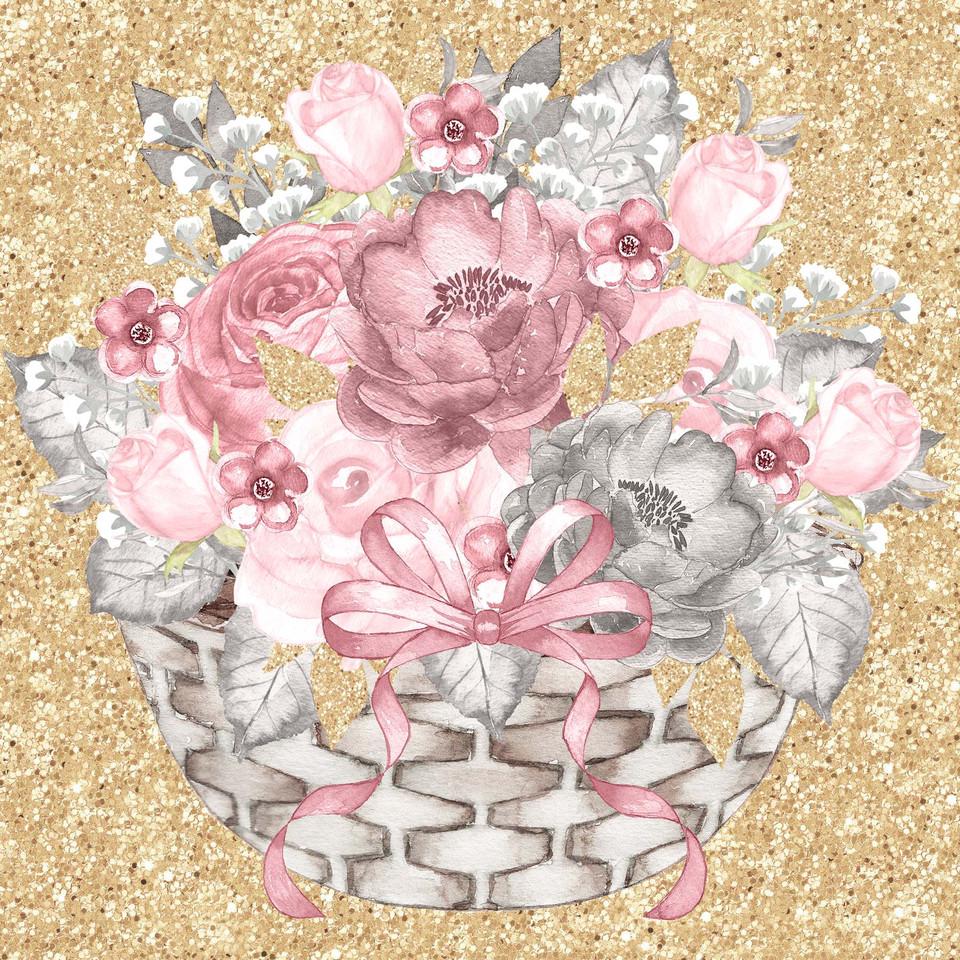 Luxury watercolor digital paper with peonies | Gift Digital Paper