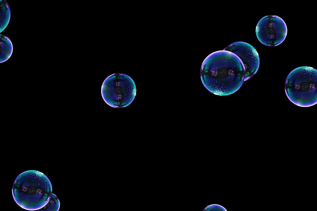 Stunning rainbow soap bubbles on black background | Photo Overlay