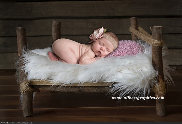 Newborn digital backdrop | Wooden rustic bed | Photoshop background