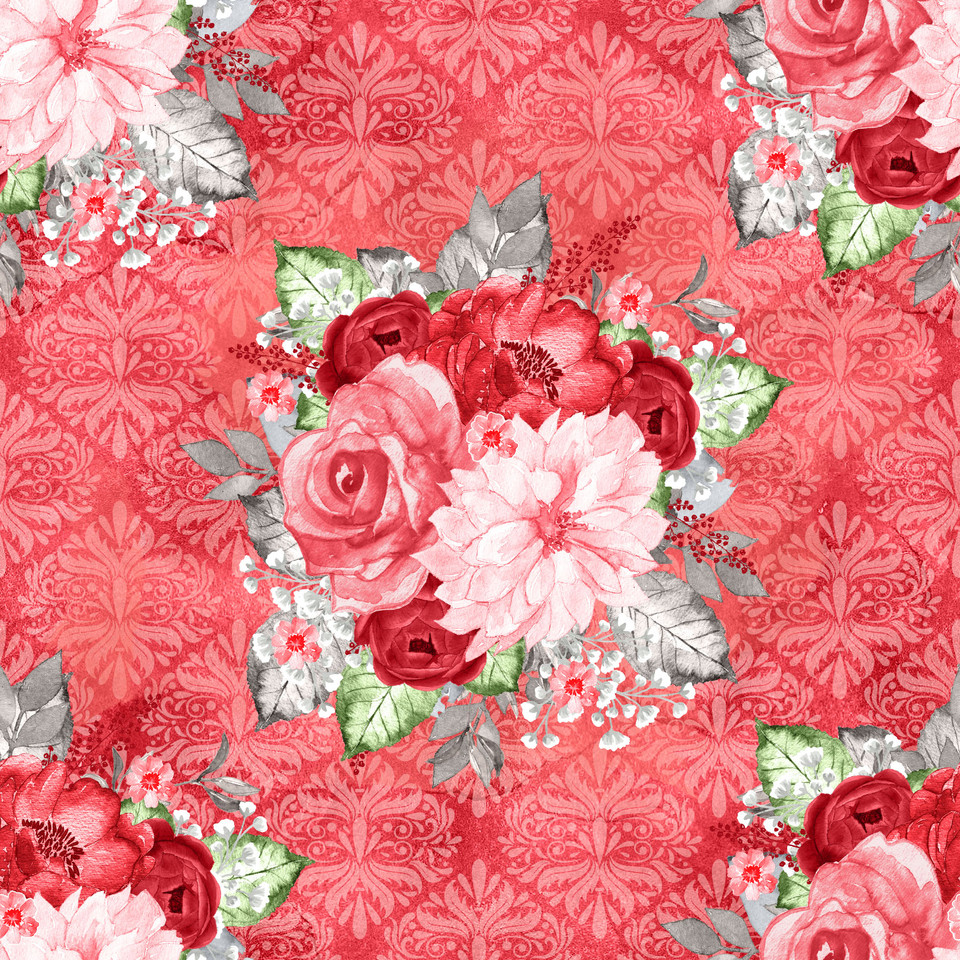 Luxurious watercolor digital paper with peonies | Wrapping Digital Paper