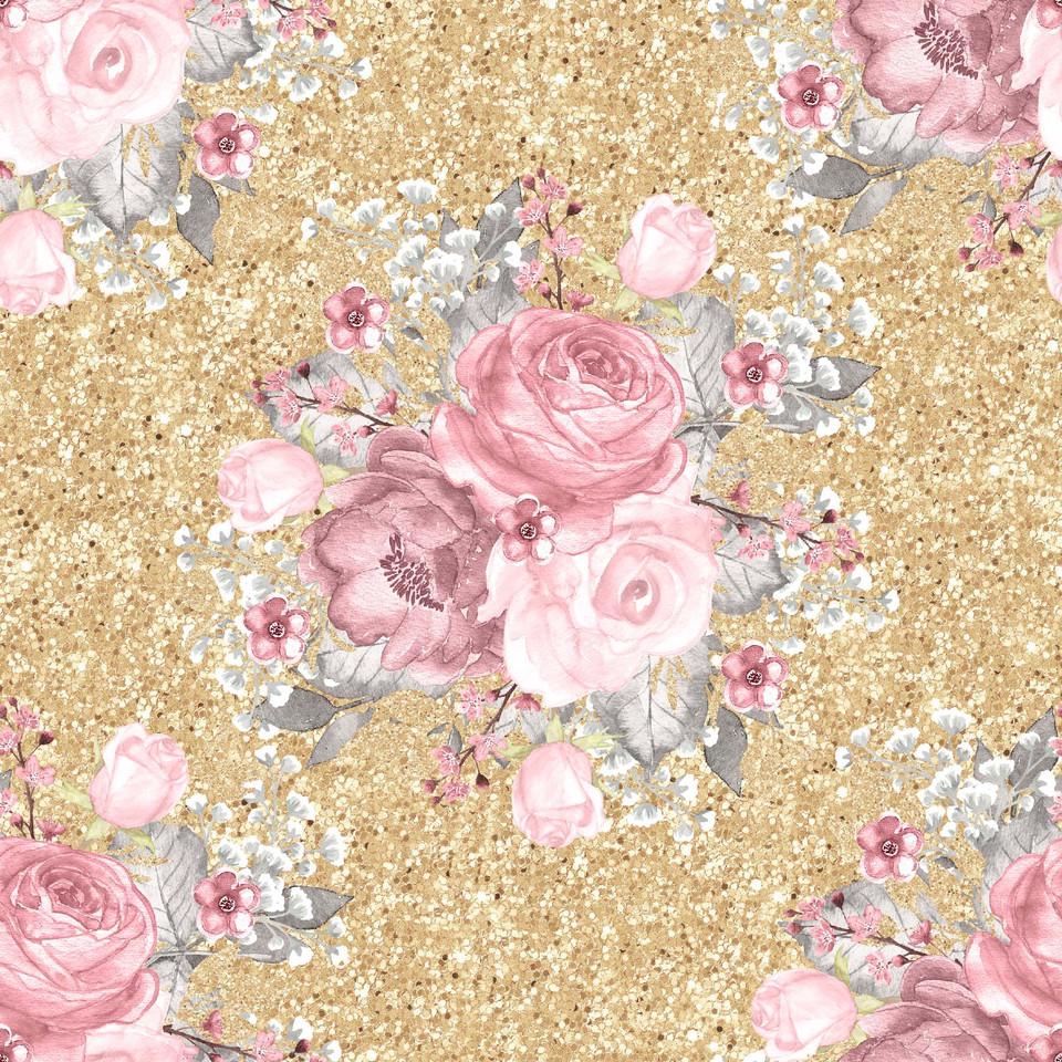 Royal watercolor digital paper with pink flowers | Textured Digital Paper