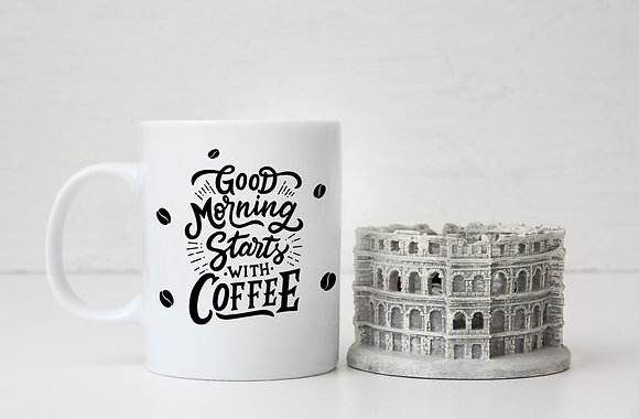 Good morning starts with coffee | Hand-lettered funny quotes about coffee