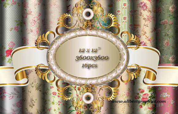 16 pcs Excellent Retro Floral Hand Painted Digital Paper with Flowers