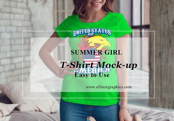 Sexy woman T-shirt mockup layered psd |  Teenage T-shirt mock up | Girl T-shirt mock up | Psd mock up
