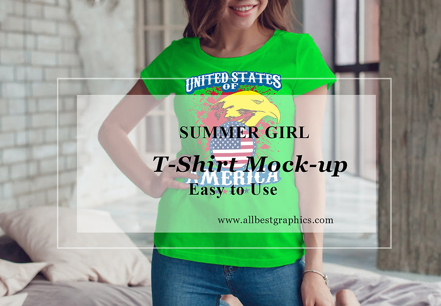 Teenage Girl T-Shirt mock up | Sexy woman T-shirt mockup
