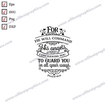 Command His Angels | Best Cool Quotes Easy-to-Use Christmas Template Cut files