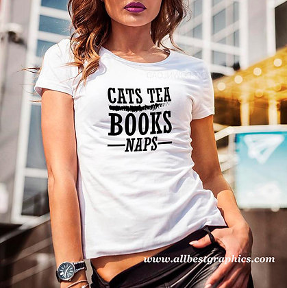 Cats tea books naps_2   Cool T-shirt Quotes in Eps Svg Png Dxf