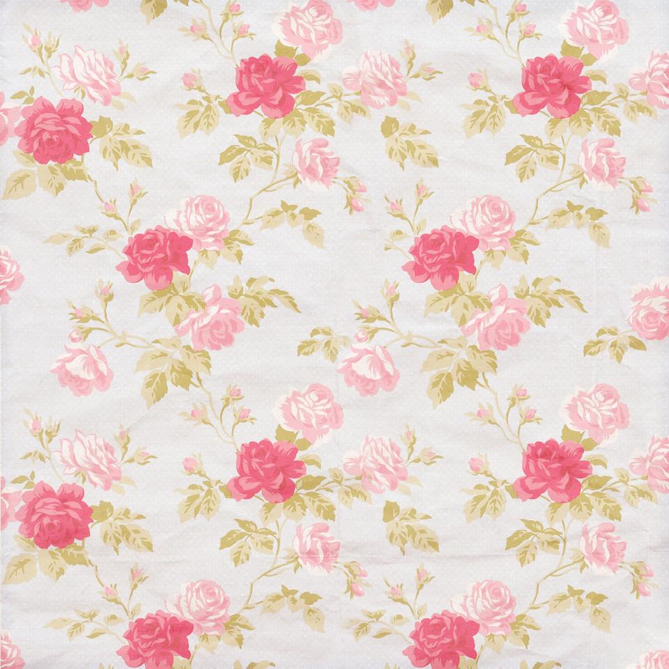 Vintage floral digital paper with roses   Fine Art Digital Paper