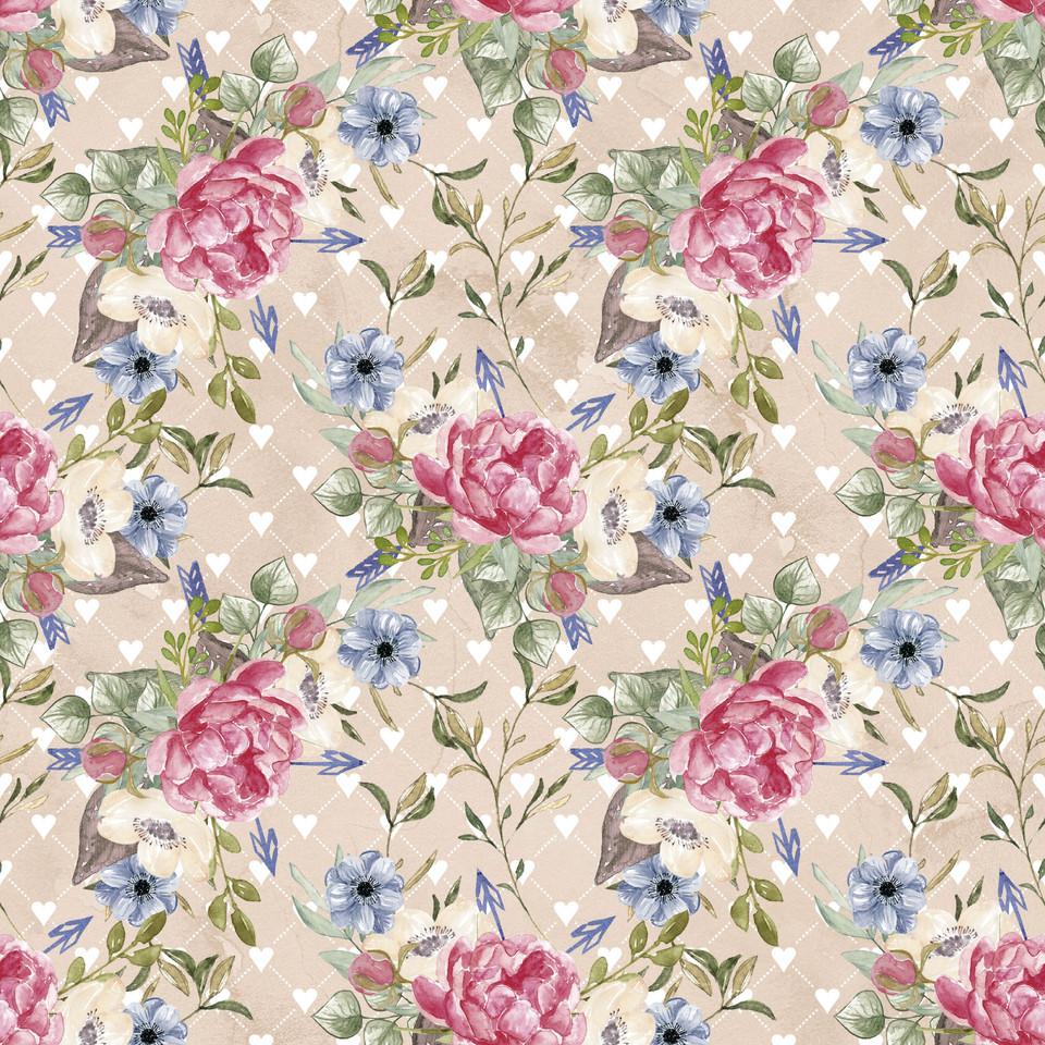 Royal watercolor digital paper with pastel flowers | Partterned Digital Paper