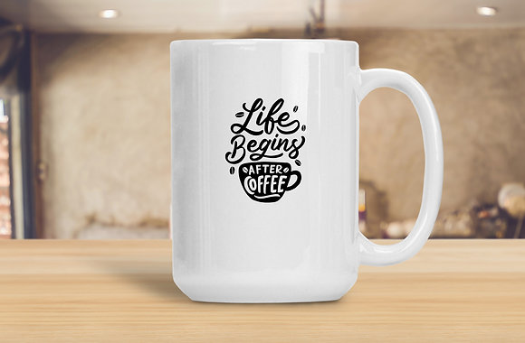Life begins after coffee vol.3 | Hand-lettered funny quotes about coffee | Calligraphy Saying Quote for Kitchen decor