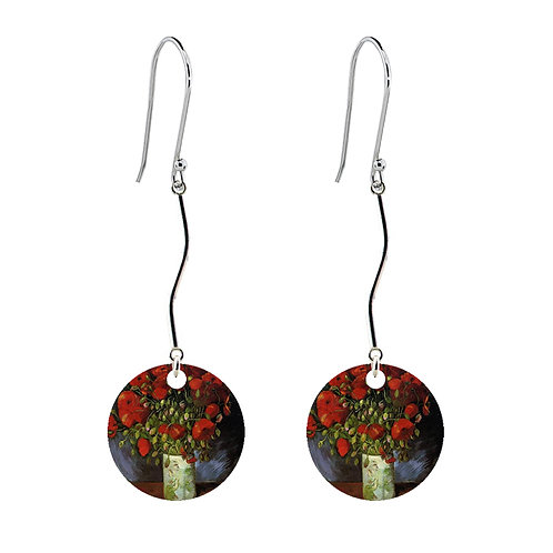 Van Gogh Earrings - Vase with Poppies - Long Round
