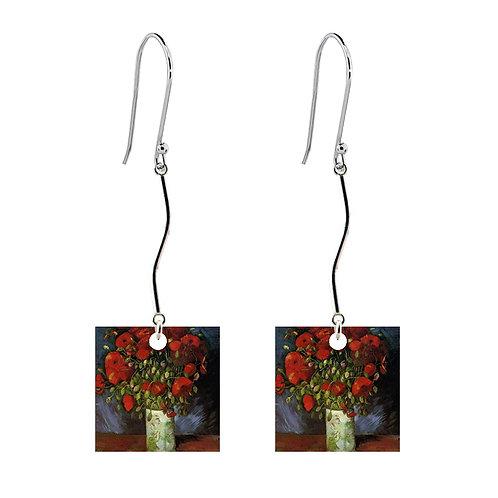 Van Gogh Earrings - Vase with Poppies - Long Square