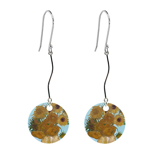 Van Gogh Earrings - Sunflowers - Long Round