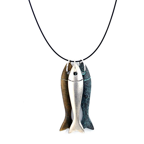 Large Hooked Fish Necklace - Mixed