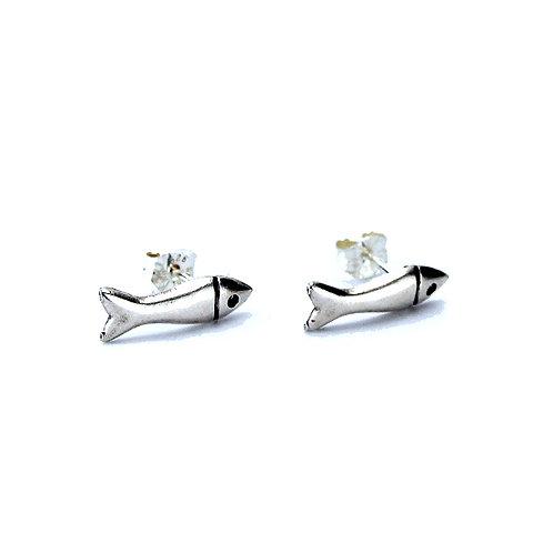 Dinky Fish Stud Earrings - Silver Finish