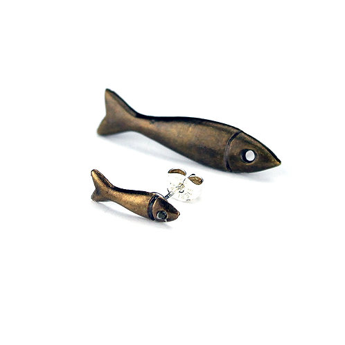 Little and Large Fish Stud Earrings - Bronze Finish