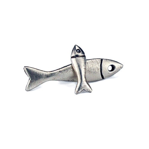 Little and Large Fish Stud Earrings - Silver Finish