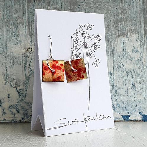 Sue Fenlon 'Poppies' Square Dangly Earrings