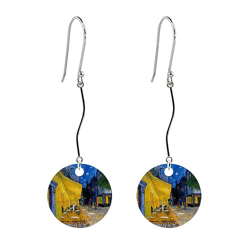 Van Gogh Earrings - Cafe Terrace at Night - Long Round