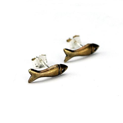 Dinky Fish Stud Earrings - Bronze Finish