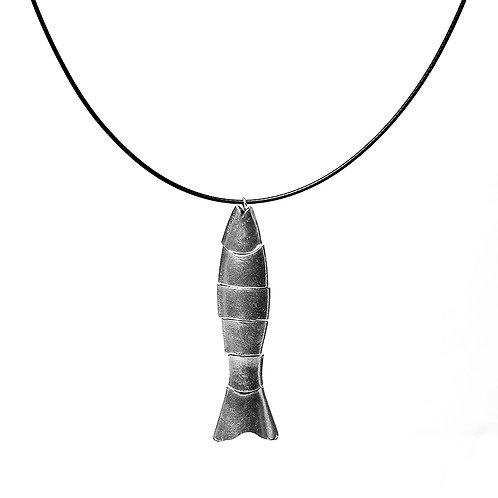 Flex Fish Drop Necklace - Silver Finish