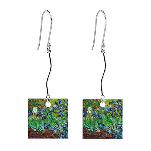Van Gogh Earrings - Irises - Long Square