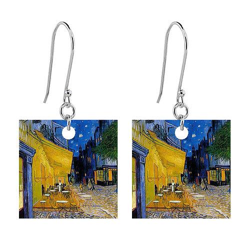 Van Gogh Earrings - Cafe Terrace at Night - Short Square