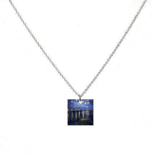 Van Gogh Necklace - Starry Night Over the Rhone - Square