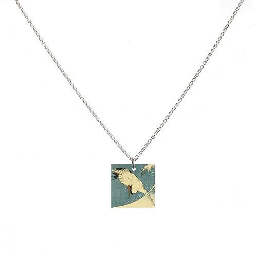 Crane by Utagawa Hiroshige II Necklace - Square