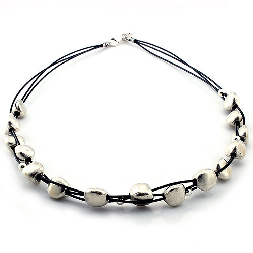 Pebble Necklace - Silver Finish