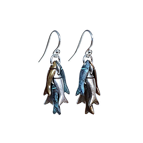 Hooked Fish Earrings - Mixed