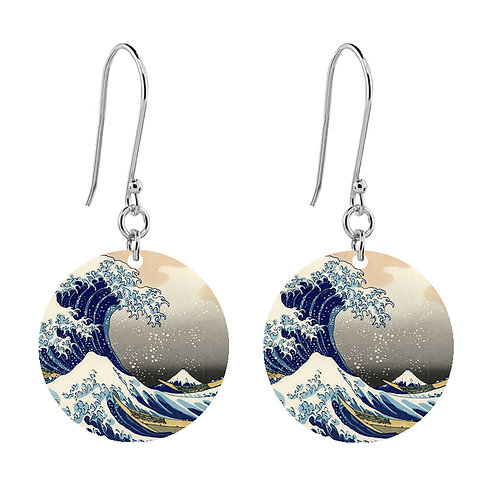 The Great Wave of Kanagawa Earrings - Short Round