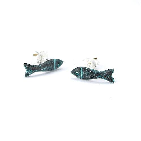 Dinky Fish Stud Earrings - Copper Finish