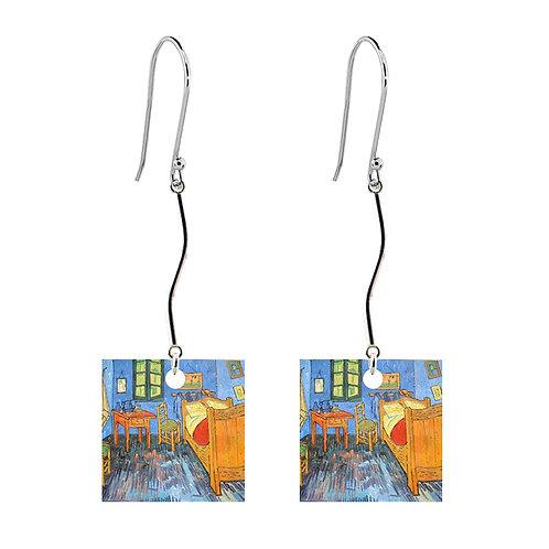 Van Gogh Earrings - Bedroom at Arles - Long Square