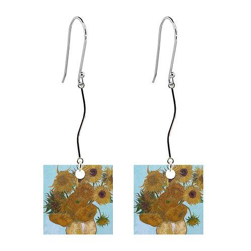Van Gogh Earrings - Sunflowers - Long Square