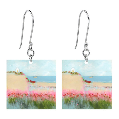 Sue Fenlon 'Poppies and Seagulls' Earrings - Short Square