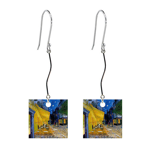 Van Gogh Earrings - Cafe Terrace at Night - Long Square
