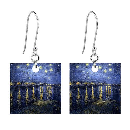 Van Gogh Earrings - Starry Night Over the Rhone  - Short Square