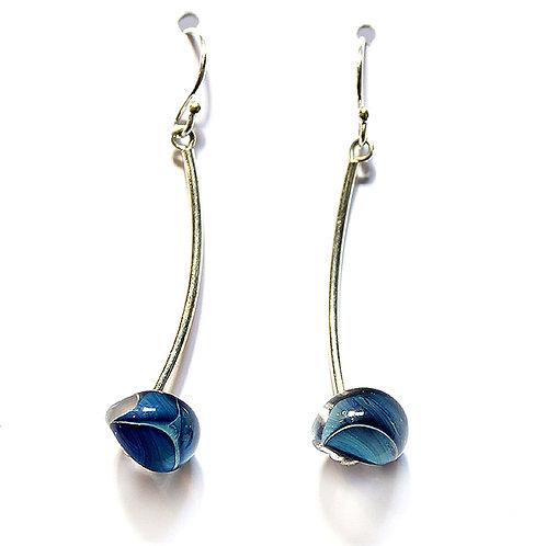 Medium Drop Blue Glass Earrings
