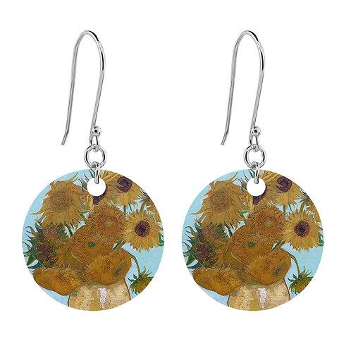 Van Gogh Earrings - Sunflowers  - Short Round